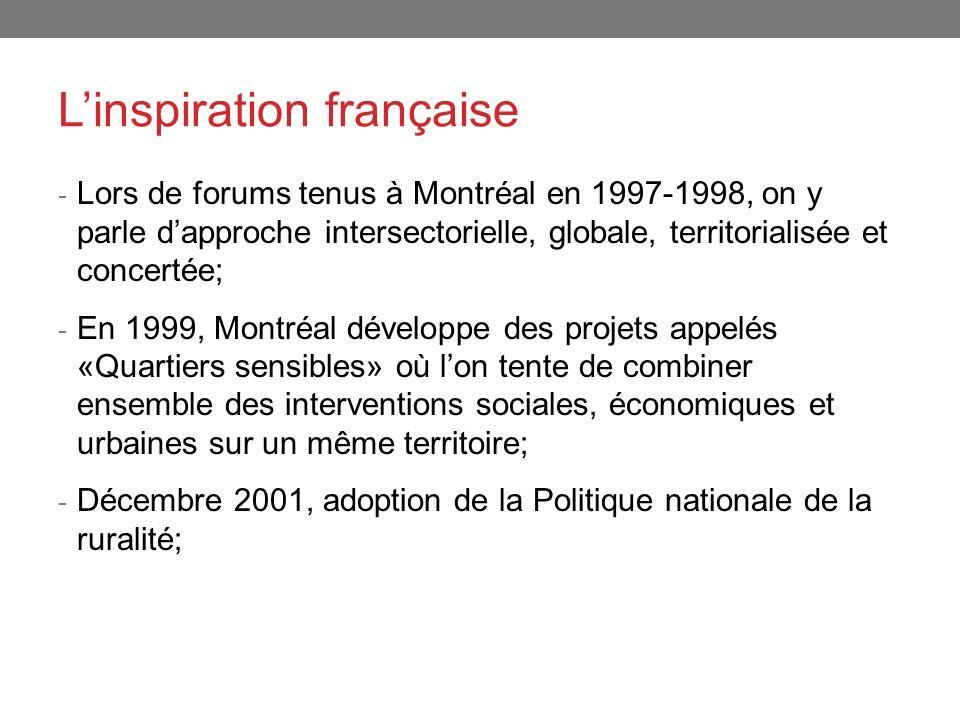 Linspiration française - Lors de forums tenus à Montréal en 1997-1998, on y parle dapproche intersectorielle, globale, territorialisée et concertée; -