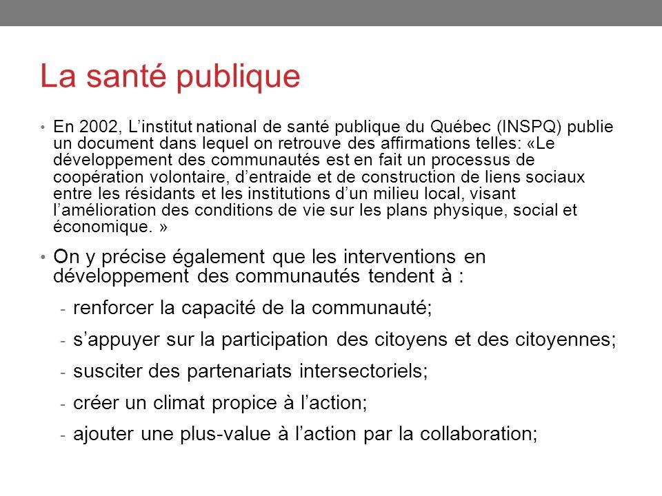 La santé publique En 2002, Linstitut national de santé publique du Québec (INSPQ) publie un document dans lequel on retrouve des affirmations telles: