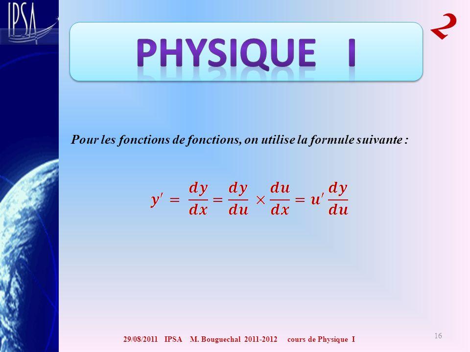 29/08/2011 IPSA M. Bouguechal 2011-2012 cours de Physique I 2 16 Pour les fonctions de fonctions, on utilise la formule suivante :