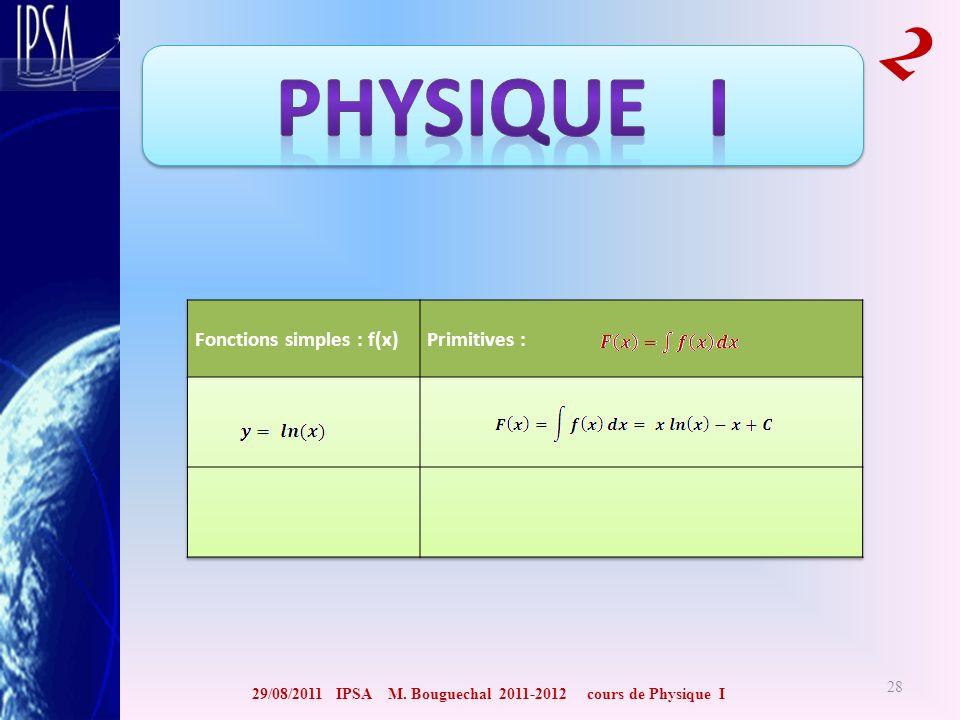 29/08/2011 IPSA M. Bouguechal 2011-2012 cours de Physique I 2 28