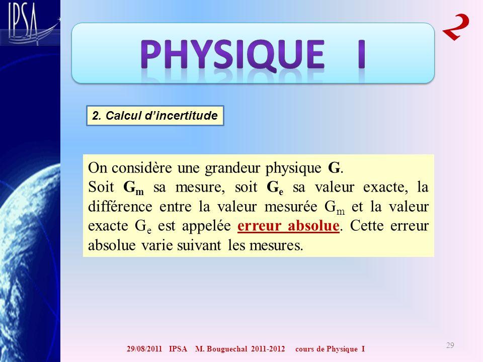 29/08/2011 IPSA M. Bouguechal 2011-2012 cours de Physique I 2 29 2. Calcul dincertitude On considère une grandeur physique G. Soit G m sa mesure, soit