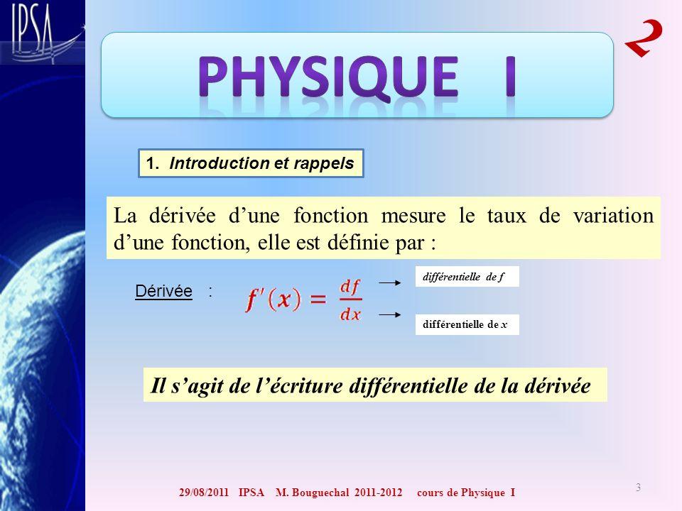 29/08/2011 IPSA M. Bouguechal 2011-2012 cours de Physique I 2 3 1. Introduction et rappels La dérivée dune fonction mesure le taux de variation dune f