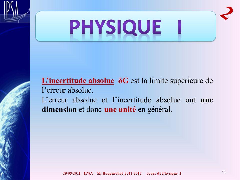 29/08/2011 IPSA M. Bouguechal 2011-2012 cours de Physique I 2 30 Lincertitude absolue δG est la limite supérieure de lerreur absolue. Lerreur absolue