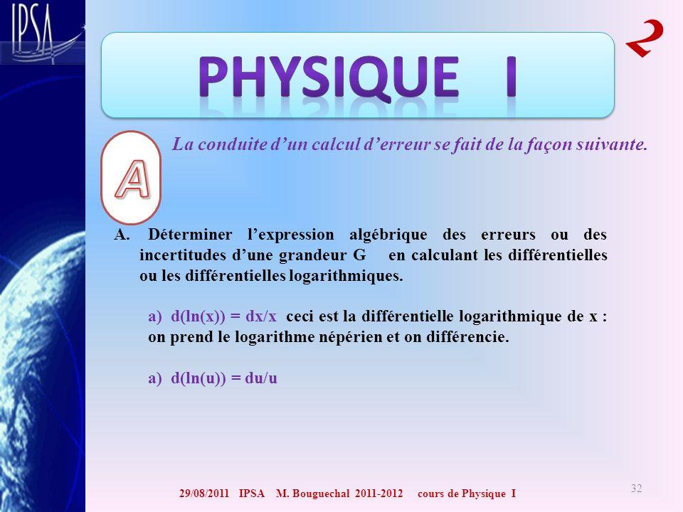 29/08/2011 IPSA M. Bouguechal 2011-2012 cours de Physique I 2 32 La conduite dun calcul derreur se fait de la façon suivante. A. Déterminer lexpressio
