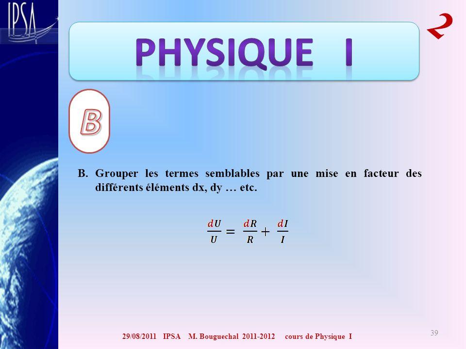 29/08/2011 IPSA M. Bouguechal 2011-2012 cours de Physique I 2 39 B. Grouper les termes semblables par une mise en facteur des différents éléments dx,