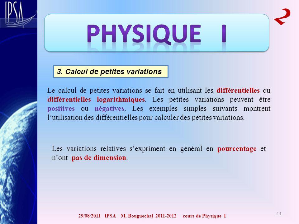 29/08/2011 IPSA M. Bouguechal 2011-2012 cours de Physique I 2 43 3. Calcul de petites variations Le calcul de petites variations se fait en utilisant