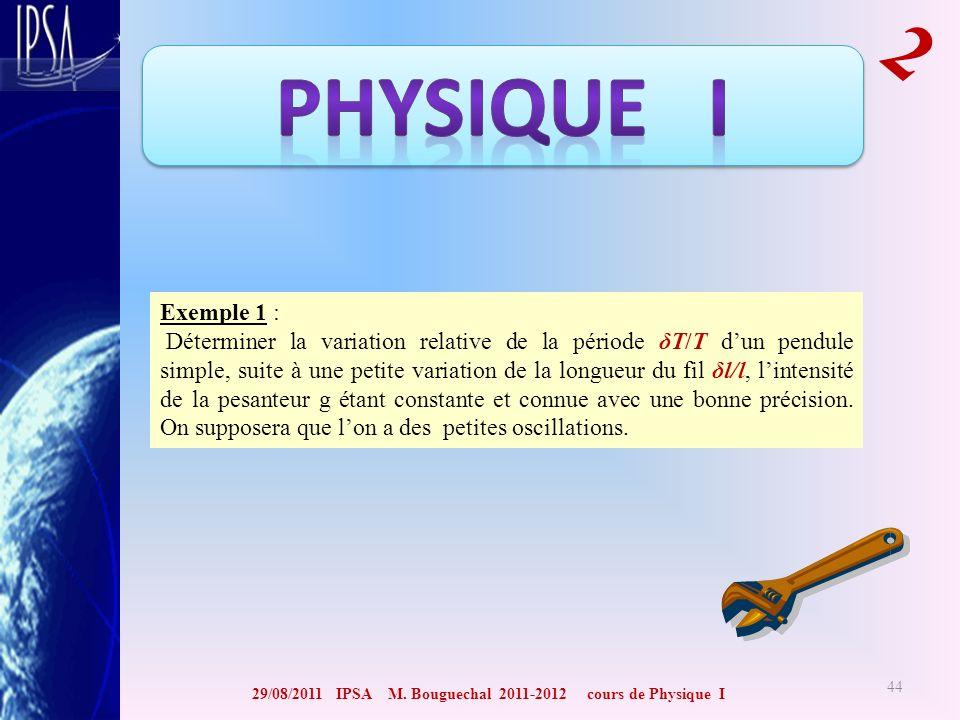 29/08/2011 IPSA M. Bouguechal 2011-2012 cours de Physique I 2 44 Exemple 1 : Déterminer la variation relative de la période δT/T dun pendule simple, s