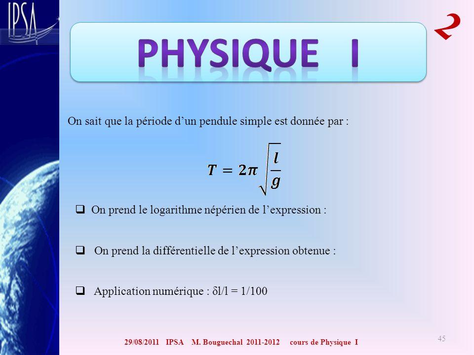 29/08/2011 IPSA M. Bouguechal 2011-2012 cours de Physique I 2 45 On sait que la période dun pendule simple est donnée par : On prend le logarithme nép