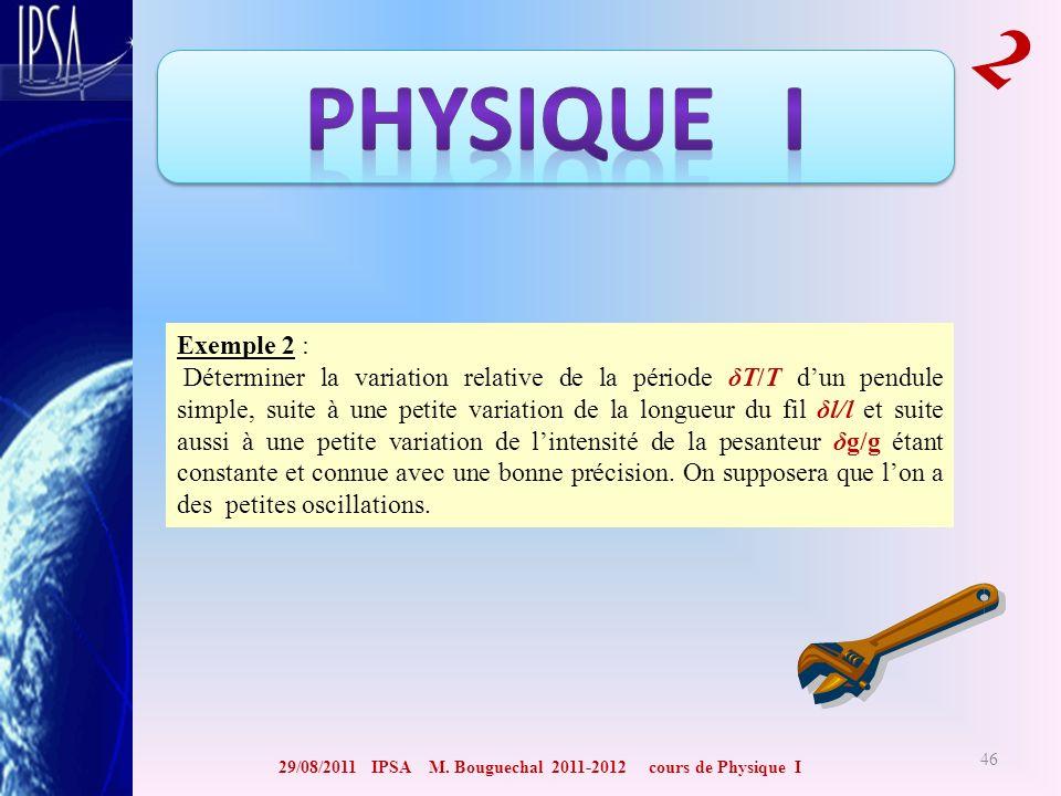 29/08/2011 IPSA M. Bouguechal 2011-2012 cours de Physique I 2 46 Exemple 2 : Déterminer la variation relative de la période δT/T dun pendule simple, s