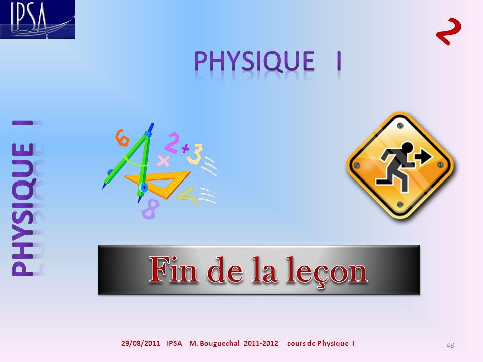 29/08/2011 IPSA M. Bouguechal 2011-2012 cours de Physique I 2 48