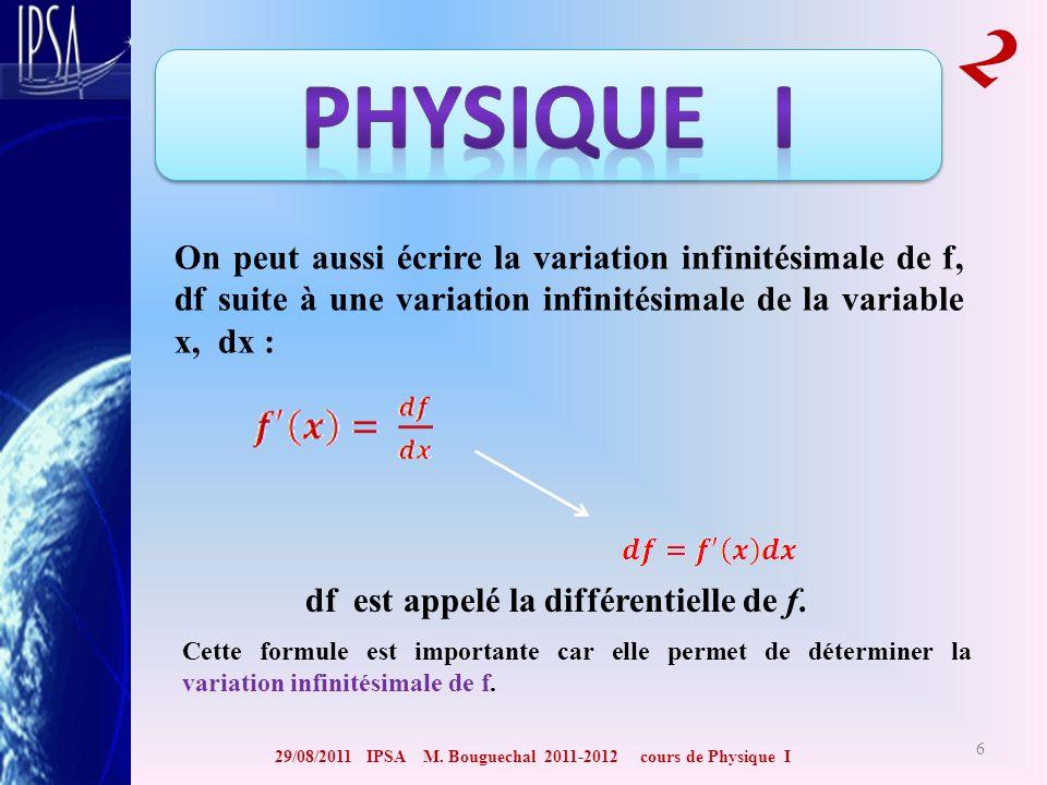 29/08/2011 IPSA M. Bouguechal 2011-2012 cours de Physique I 2 6 On peut aussi écrire la variation infinitésimale de f, df suite à une variation infini