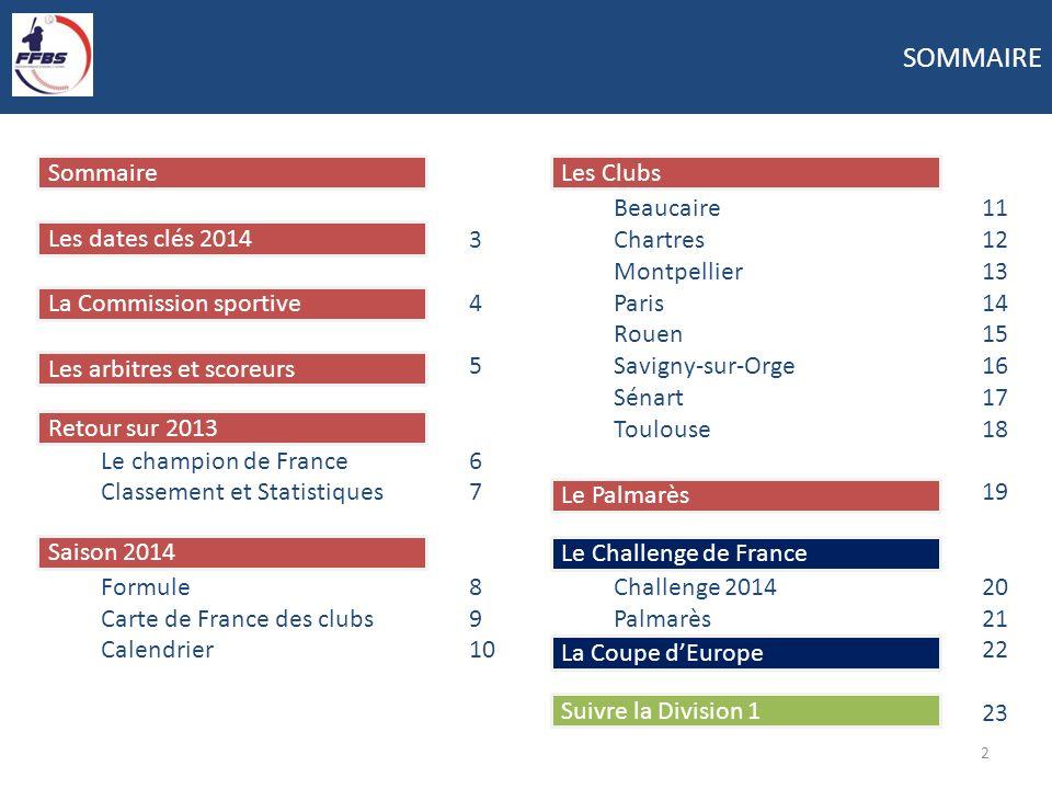 Suivre la Division 1 La Coupe dEurope Le Challenge de France Le Palmarès Les Clubs Saison 2014 Retour sur 2013 Les arbitres et scoreurs La Commission