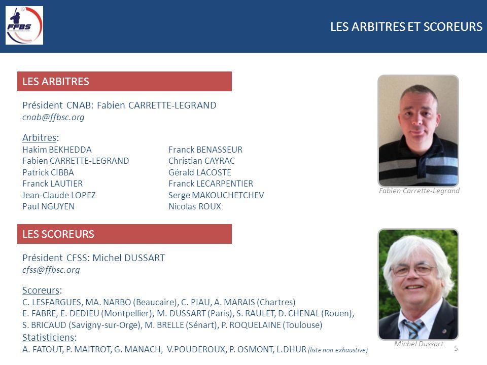 LES ARBITRES ET SCOREURS 5 Président CNAB: Fabien CARRETTE-LEGRAND cnab@ffbsc.org Arbitres: Hakim BEKHEDDA Franck BENASSEUR Fabien CARRETTE-LEGRAND Ch