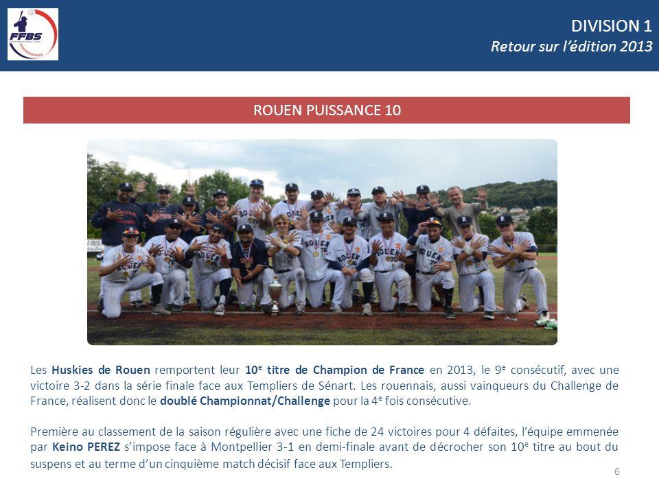 DIVISION 1 Retour sur lédition 2013 6 ROUEN PUISSANCE 10 Les Huskies de Rouen remportent leur 10 e titre de Champion de France en 2013, le 9 e consécu