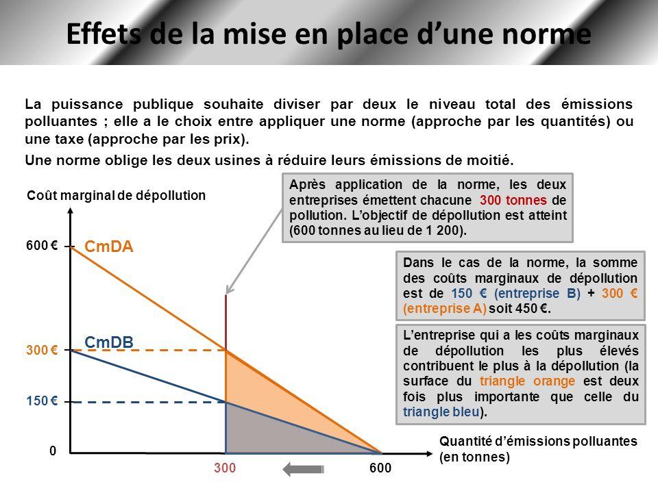 Effets de la mise en place dune norme La puissance publique souhaite diviser par deux le niveau total des émissions polluantes ; elle a le choix entre