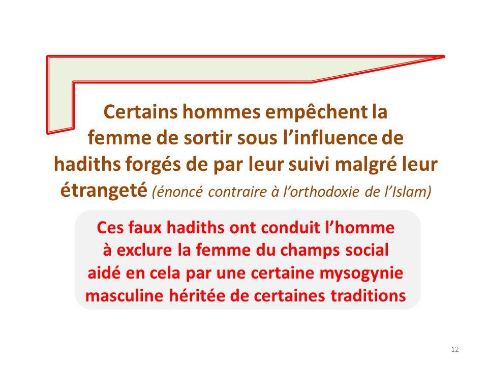 12 Certains hommes empêchent la femme de sortir sous linfluence de hadiths forgés de par leur suivi malgré leur étrangeté (énoncé contraire à lorthodo