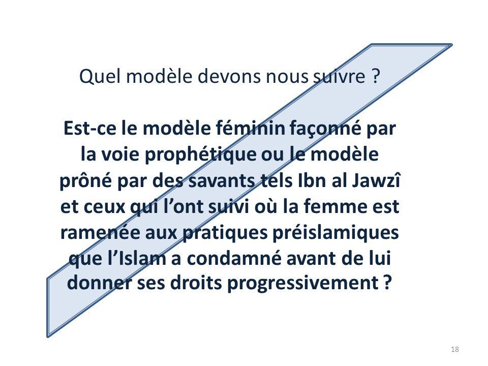 Quel modèle devons nous suivre ? Est-ce le modèle féminin façonné par la voie prophétique ou le modèle prôné par des savants tels Ibn al Jawzî et ceux
