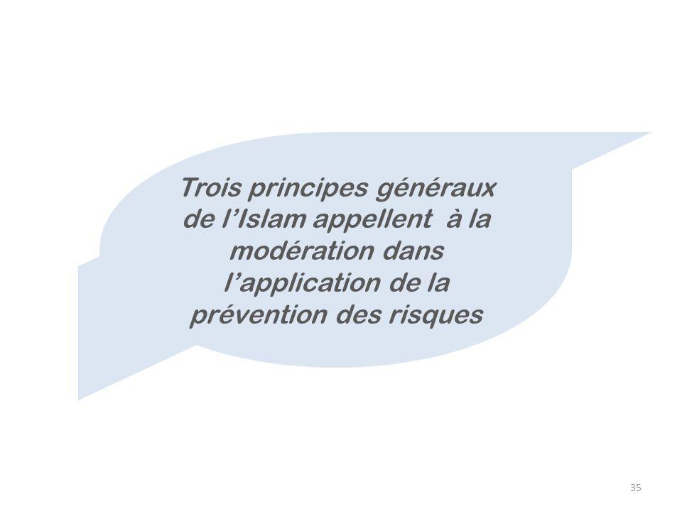 35 Trois principes généraux de lIslam appellent à la modération dans lapplication de la prévention des risques