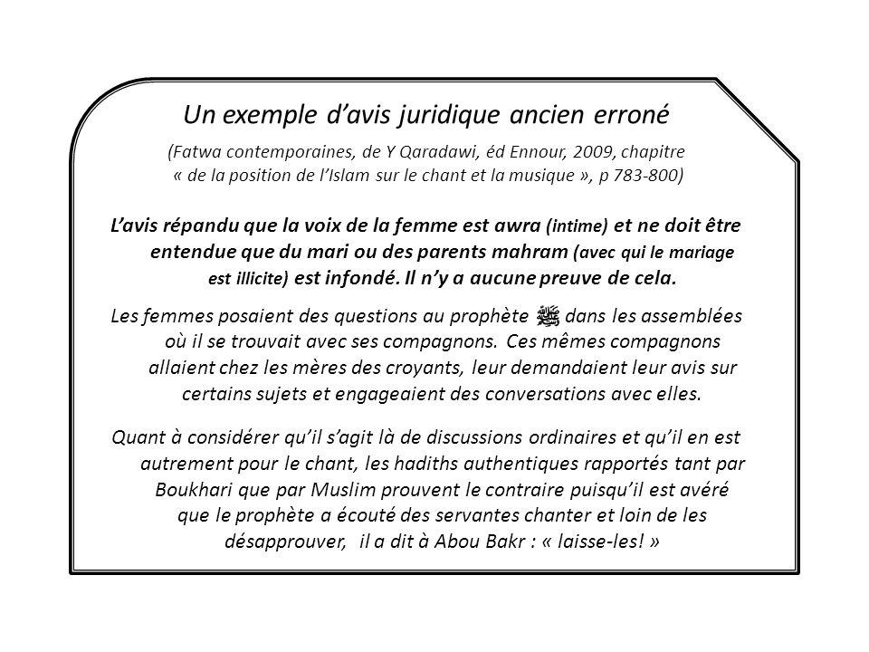 Un exemple davis juridique ancien erroné (Fatwa contemporaines, de Y Qaradawi, éd Ennour, 2009, chapitre « de la position de lIslam sur le chant et la
