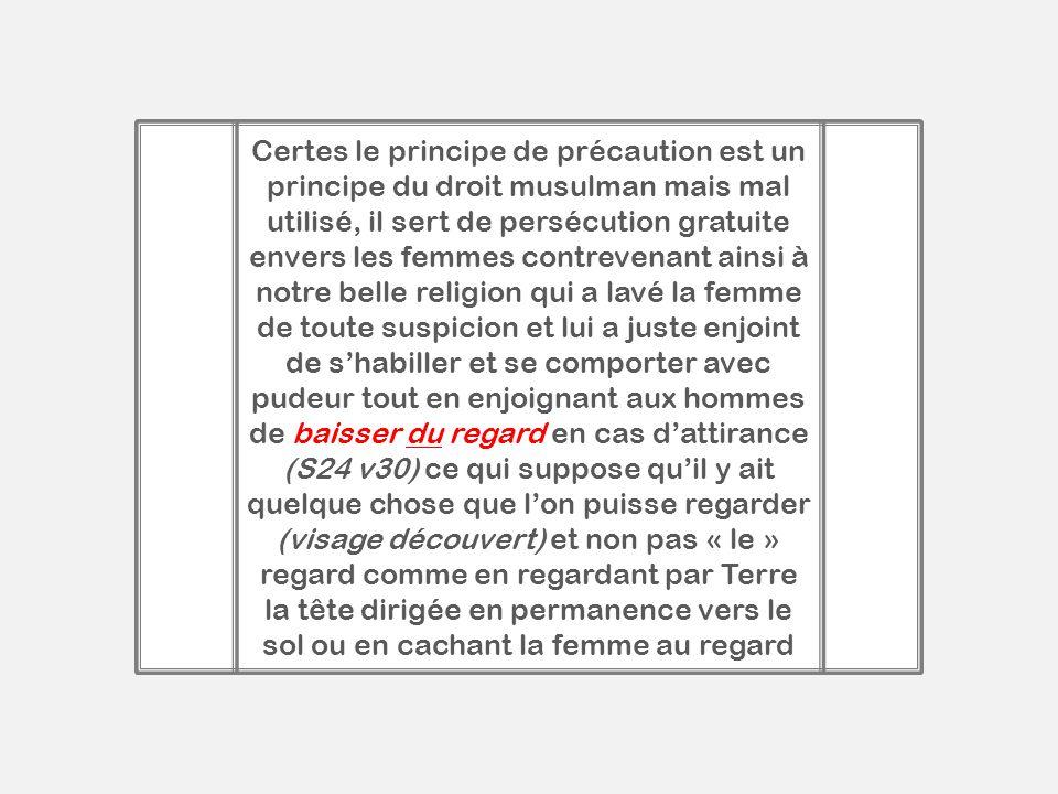Certes le principe de précaution est un principe du droit musulman mais mal utilisé, il sert de persécution gratuite envers les femmes contrevenant ai
