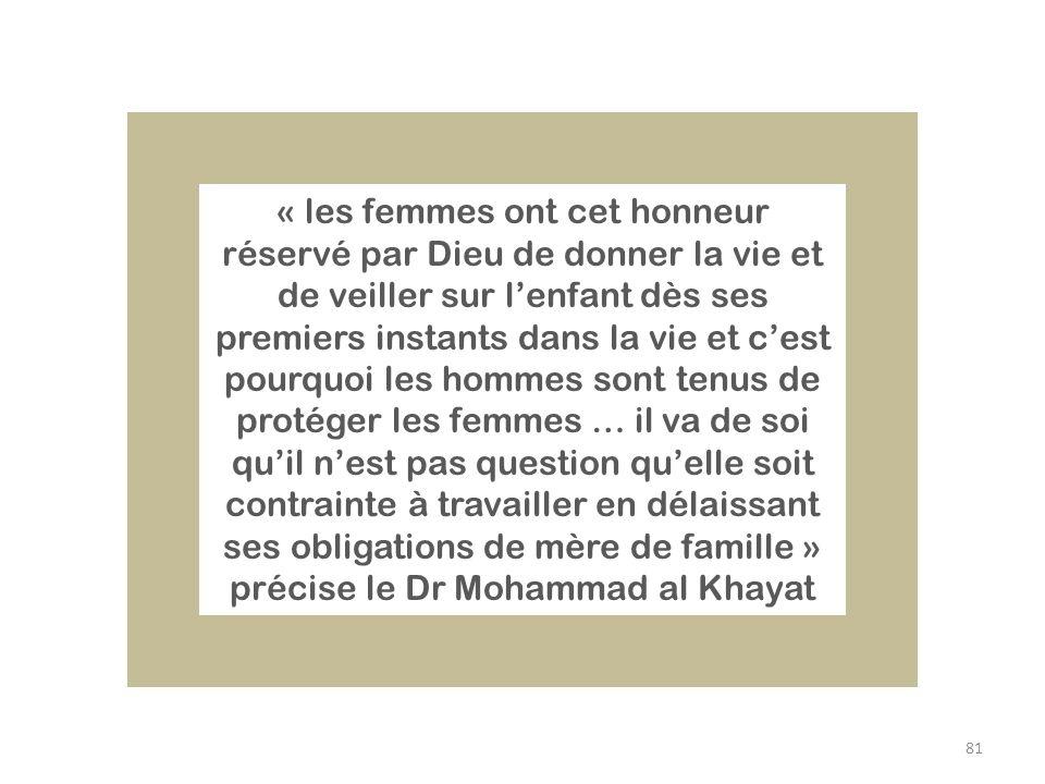 81 « les femmes ont cet honneur réservé par Dieu de donner la vie et de veiller sur lenfant dès ses premiers instants dans la vie et cest pourquoi les