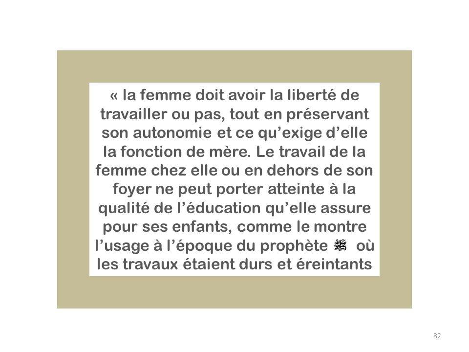 82 « la femme doit avoir la liberté de travailler ou pas, tout en préservant son autonomie et ce quexige delle la fonction de mère. Le travail de la f