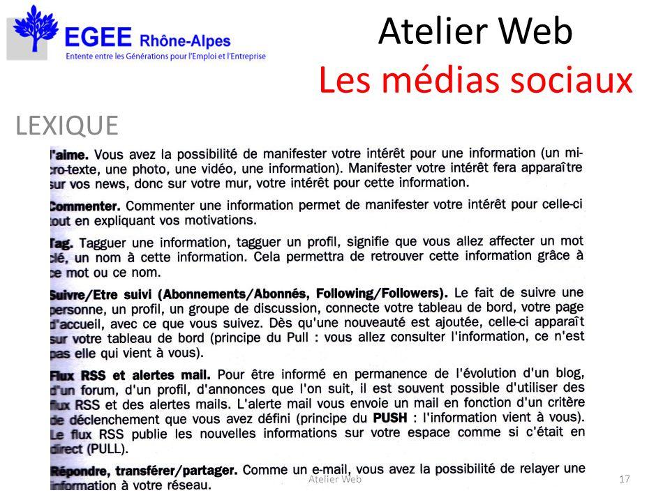 Atelier Web Les médias sociaux LEXIQUE 17Atelier Web
