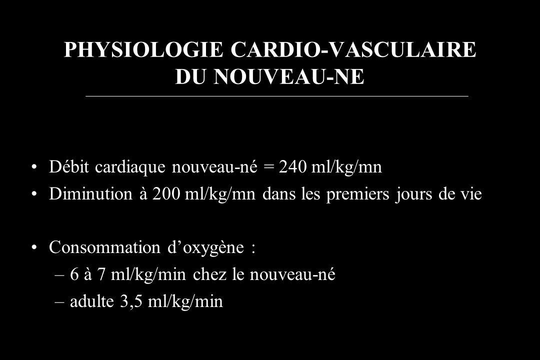 PHYSIOLOGIE CARDIO-VASCULAIRE DU NOUVEAU-NE Débit cardiaque nouveau-né = 240 ml/kg/mn Diminution à 200 ml/kg/mn dans les premiers jours de vie Consomm
