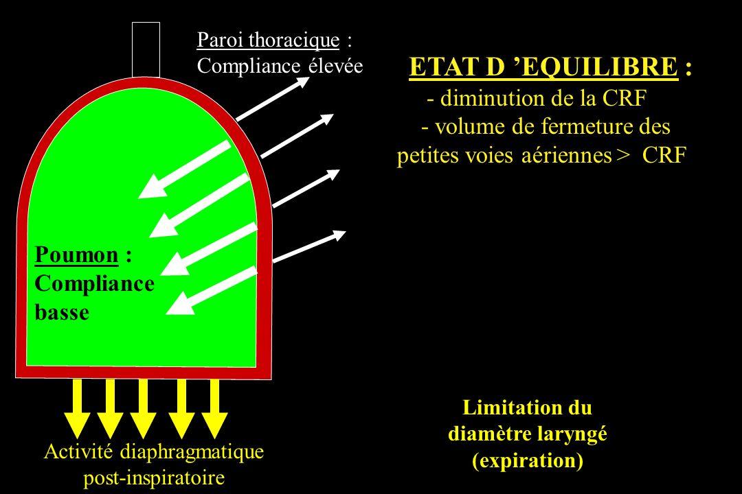 Poumon : Compliance basse Paroi thoracique : Compliance élevée Activité diaphragmatique post-inspiratoire ETAT D EQUILIBRE : - diminution de la CRF -