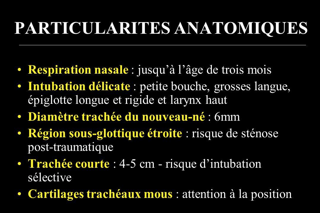 PARTICULARITES ANATOMIQUES Respiration nasale : jusquà lâge de trois mois Intubation délicate : petite bouche, grosses langue, épiglotte longue et rig