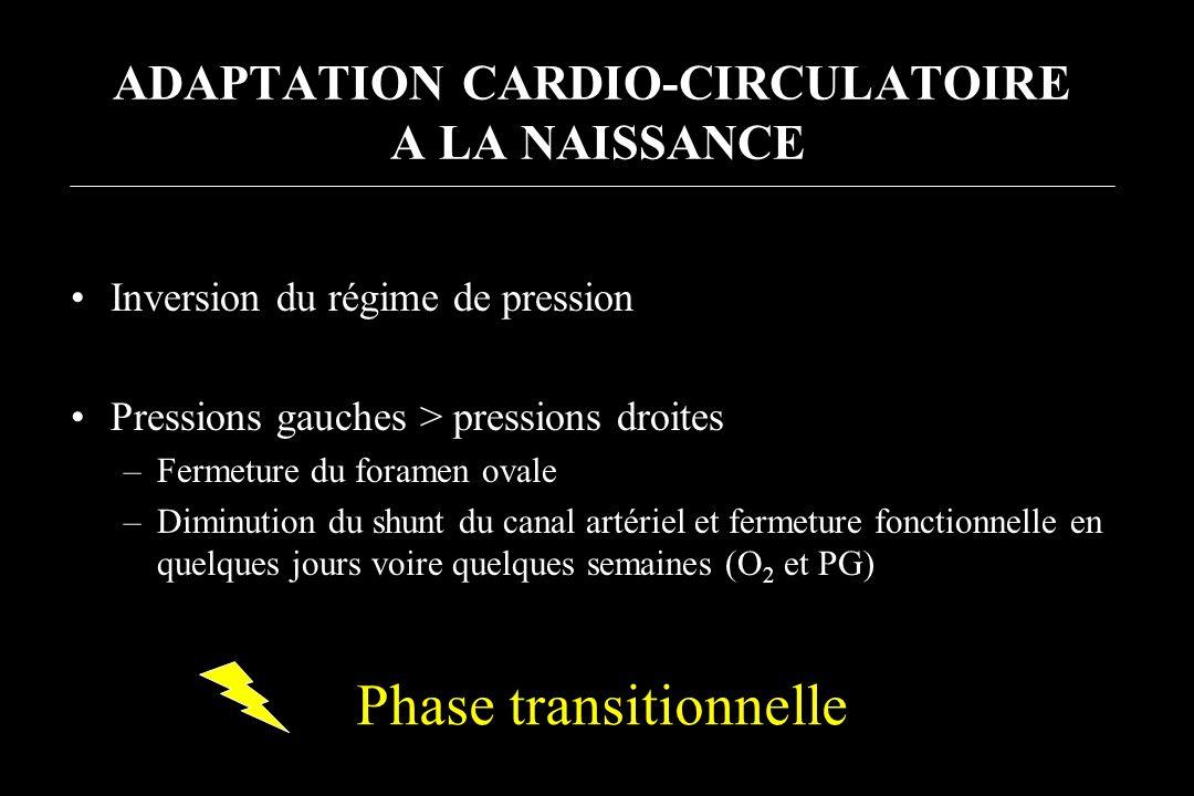 ADAPTATION CARDIO-CIRCULATOIRE A LA NAISSANCE Inversion du régime de pression Pressions gauches > pressions droites –Fermeture du foramen ovale –Dimin