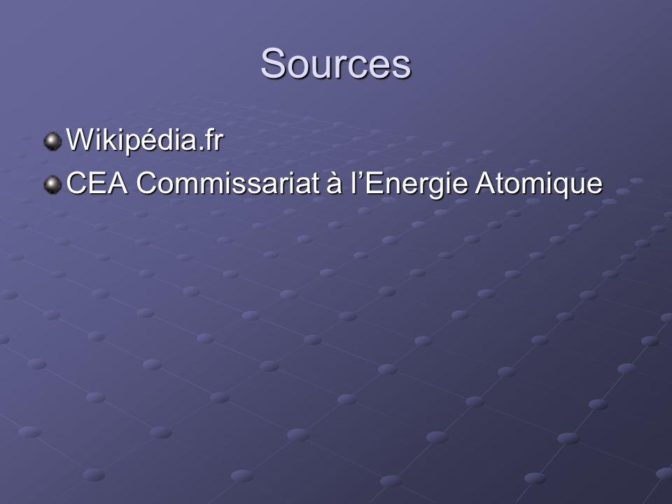 Sources Wikipédia.fr CEA Commissariat à lEnergie Atomique