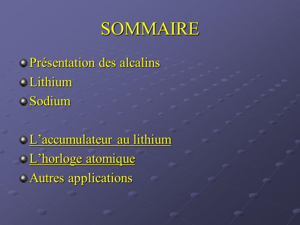 SOMMAIRE Présentation des alcalins LithiumSodium Laccumulateur au lithium Laccumulateur au lithium Lhorloge atomique Lhorloge atomique Autres applicat