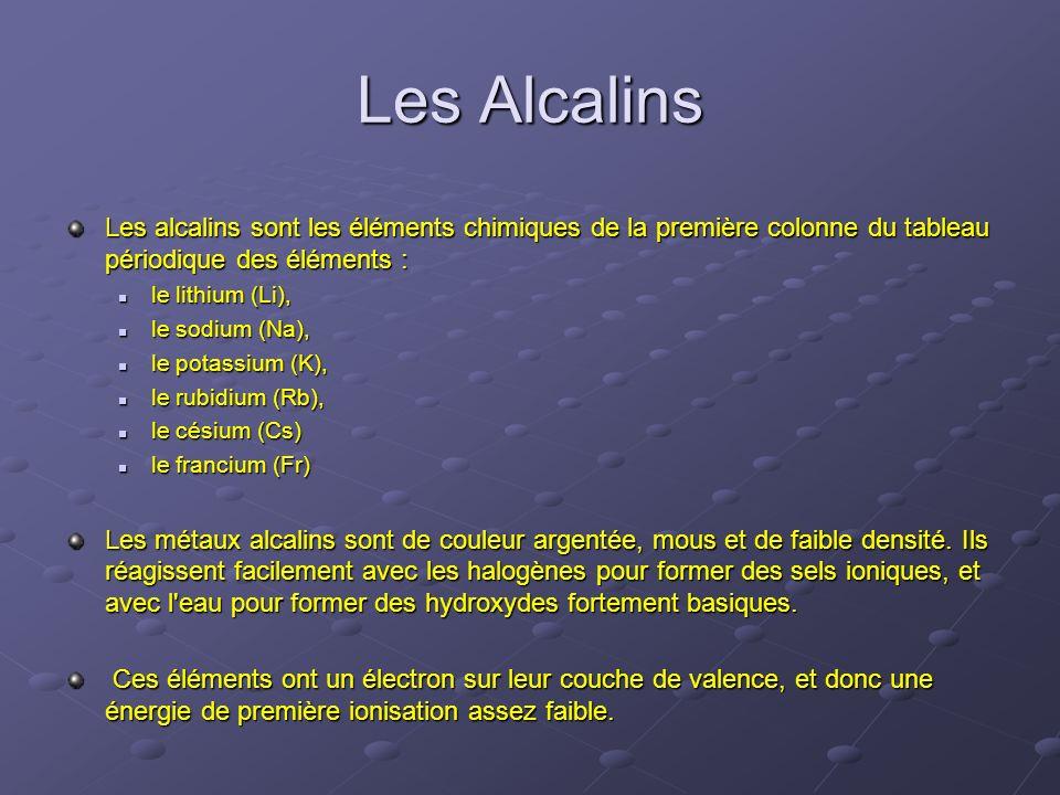 Les Alcalins Les alcalins sont les éléments chimiques de la première colonne du tableau périodique des éléments : le lithium (Li), le lithium (Li), le