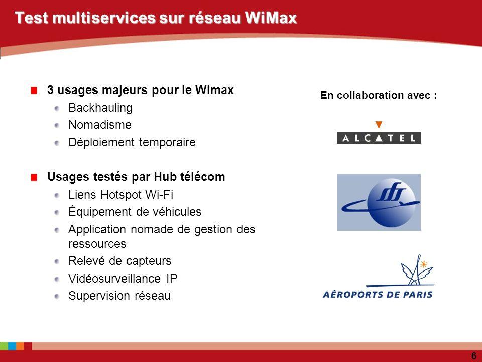 6 Test multiservices sur réseau WiMax 3 usages majeurs pour le Wimax Backhauling Nomadisme Déploiement temporaire Usages testés par Hub télécom Liens