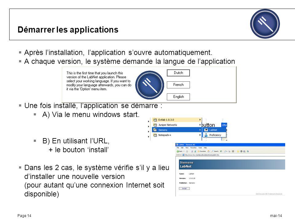 mai-14Page 14 Démarrer les applications Après linstallation, lapplication souvre automatiquement.