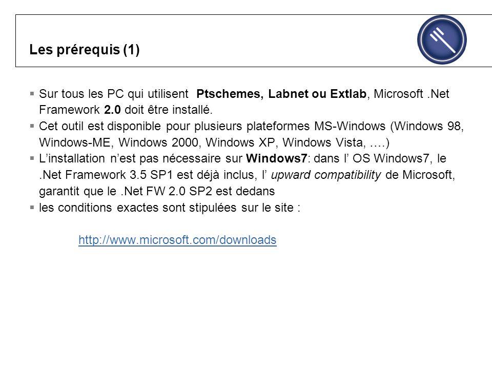 Les prérequis (1) Sur tous les PC qui utilisent Ptschemes, Labnet ou Extlab, Microsoft.Net Framework 2.0 doit être installé.