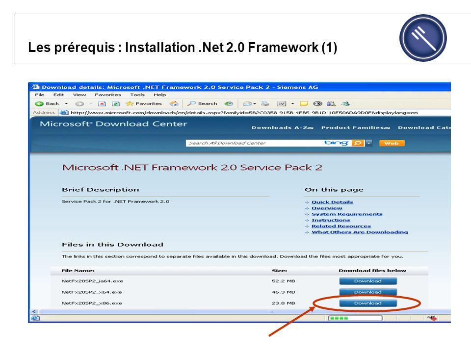 Les prérequis : Installation.Net 2.0 Framework (1)