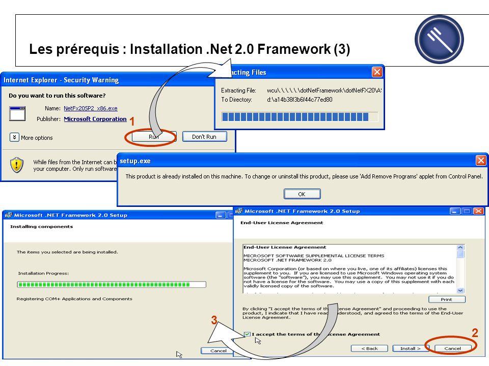 Les prérequis : Installation.Net 2.0 Framework (3) 1 3 2 1