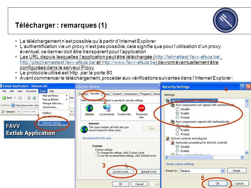 Télécharger : remarques (1) Le téléchargement nest possible quà partir dInternet Explorer Lauthentification via un proxy nest pas possible, cela signifie que pour lutilisation dun proxy éventuel, ce dernier doit être transparent pour lapplication Les URL depuis lesquelles lapplication peut être téléchargée (http://labnettest.favv-afsca.be/, http://ptschemestest.favv-afsca.be/ et http://www.favv-afsca.be) devront éventuellement être configurées dans le serveur Proxyhttp://labnettest.favv-afsca.be/ http://ptschemestest.favv-afsca.be/http://www.favv-afsca.be Le protocole utilisé est http, par la porte 80 Avant commencer le téléchargement, procéder aux vérifications suivantes dans lInternet Explorer : 1 2 3 4 5