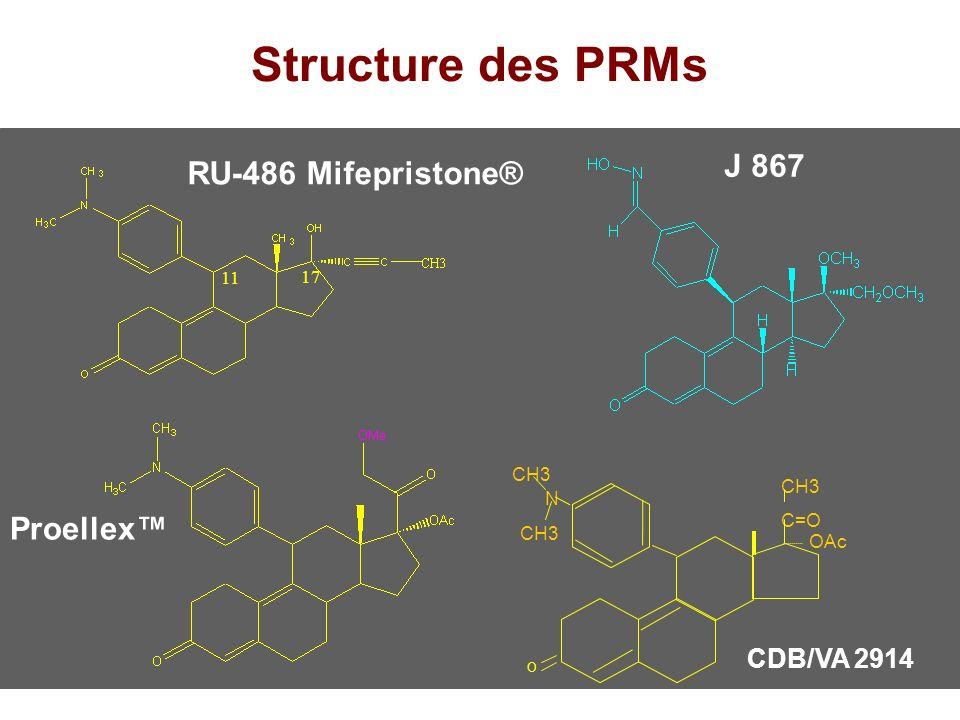 Structure des PRMs Proellex J 867 RU-486 Mifepristone® CDB/VA 2914 N CH3 C=O OAc O 11 17