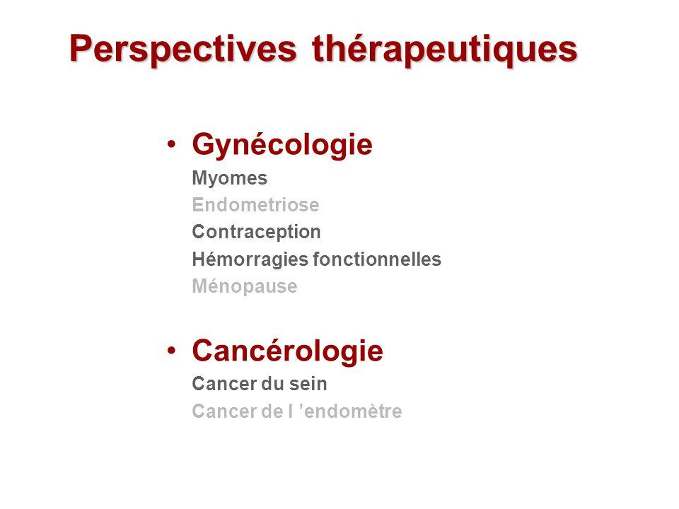 Gynécologie Myomes Endometriose Contraception Hémorragies fonctionnelles Ménopause Cancérologie Cancer du sein Cancer de l endomètre Perspectives thér