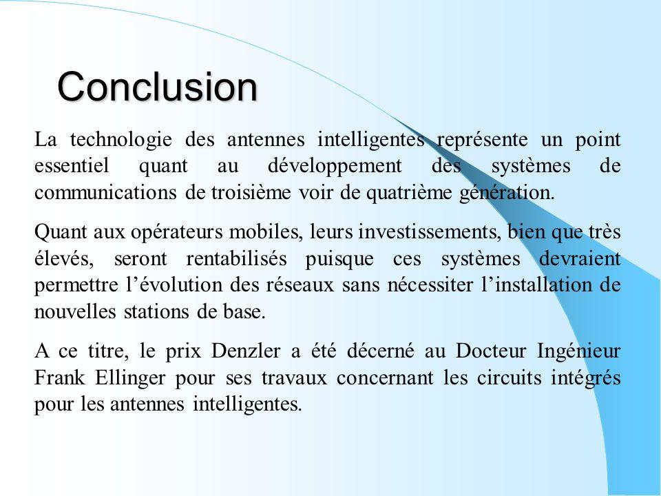 Conclusion La technologie des antennes intelligentes représente un point essentiel quant au développement des systèmes de communications de troisième