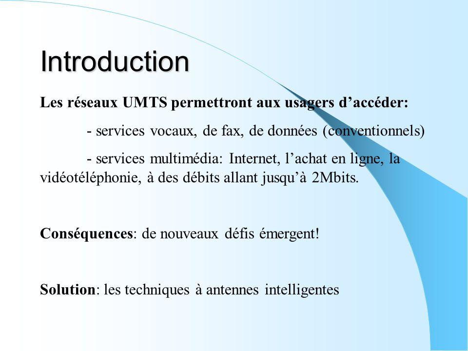 Introduction Les réseaux UMTS permettront aux usagers daccéder: - services vocaux, de fax, de données (conventionnels) - services multimédia: Internet