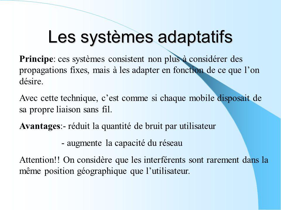 Les systèmes adaptatifs Principe: ces systèmes consistent non plus à considérer des propagations fixes, mais à les adapter en fonction de ce que lon d