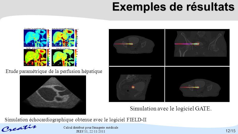 Calcul distribué pour l'imagerie médicale JRES11, 22/11/2011 Exemples de résultats Etude paramétrique de la perfusion hépatique Simulation avec le log