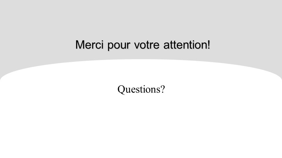 Merci pour votre attention! Questions?