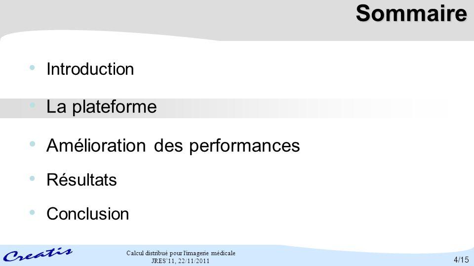 Calcul distribué pour l'imagerie médicale JRES11, 22/11/2011 Sommaire Introduction La plateforme Amélioration des performances Résultats Conclusion 4/