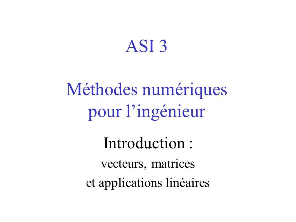 ASI 3 Méthodes numériques pour lingénieur Introduction : vecteurs, matrices et applications linéaires