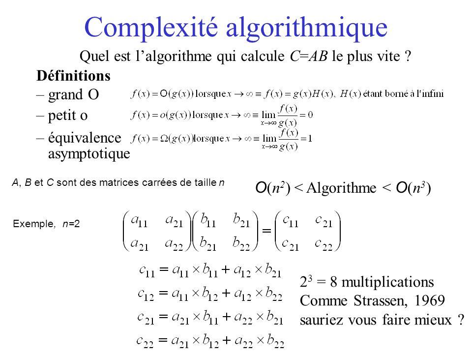 Complexité algorithmique Quel est lalgorithme qui calcule C=AB le plus vite ? Définitions – grand O – petit o – équivalence asymptotique O (n 2 ) < Al